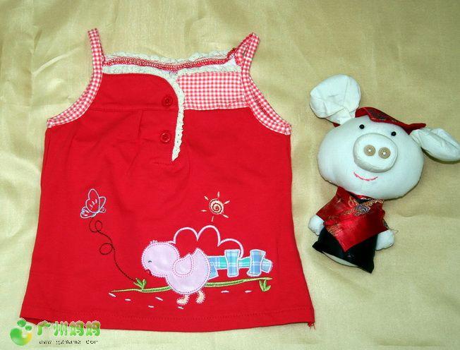 颜色: 酒红色编号:994920 女童棉质吊带背心: 后背开义 淘高清图片