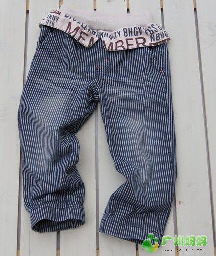 25.竖条牛仔裤,没弹力的9.5成新(40元) -儿子